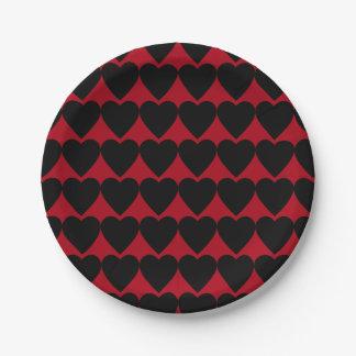 Trendy Modern Black Hearts on Dark Red 7 Inch Paper Plate