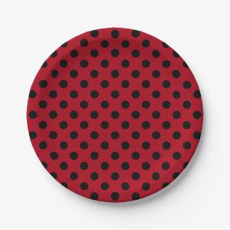 Trendy Modern Black Polka Dots on Dark Red 7 Inch Paper Plate
