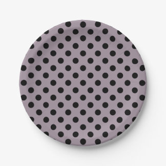 Trendy Modern Black Polka Dots on Sea Fog Purple 7 Inch Paper Plate