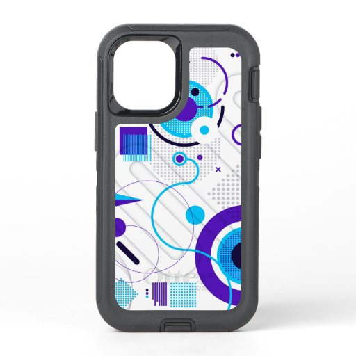 Trendy Modern Blue Geometric Pattern OtterBox Defender iPhone 12 Mini Case