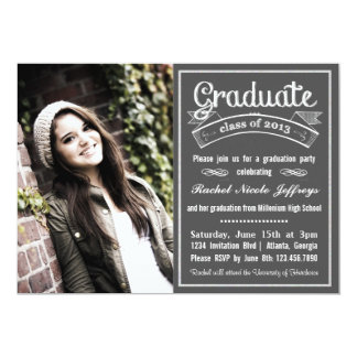 "Trendy Modern Chalkboard Typography Graduation 5"" X 7"" Invitation Card"