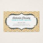 TRENDY modern chevron pattern faux gold glitter Business Card