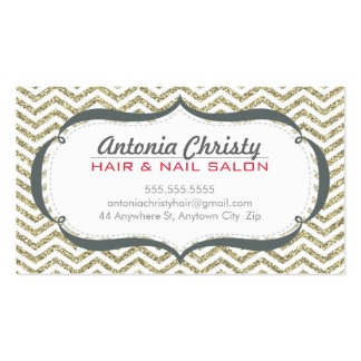 TRENDY modern chevron pattern faux gold glitter Double-Sided Standard Business Cards (Pack Of 100)