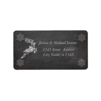 Trendy modern Christmas reindeer chalkboard Personalized Address Label