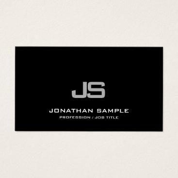 Lawyer Themed Trendy Modern Clean Elegant Monogrammed Plain Business Card