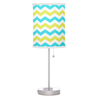 Trendy, modern, delightful green and blue chevron lamps