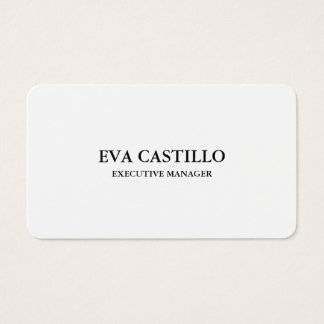 Trendy Modern Elegant Simple White Manager Business Card