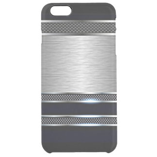Trendy Modern Faux Shiny Metal Stripes Pattern Clear iPhone 6 Plus Case