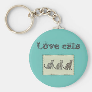 """Trendy modern fun abstract cats """"love cats"""" basic round button keychain"""