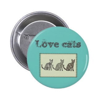 "Trendy modern fun abstract cats ""love cats"" pinback button"