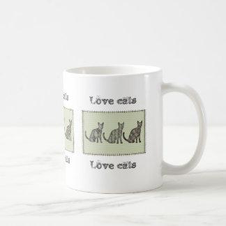 "Trendy modern fun abstract cats ""love cats"" classic white coffee mug"