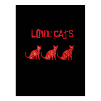 "Trendy modern fun abstract cats ""love cats"" postcard"