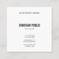 Trendy Modern Graphic Elegant Minimalistic Plain Square Business Card