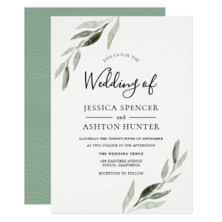 Trendy Modern Green Leaf Wedding Invitation