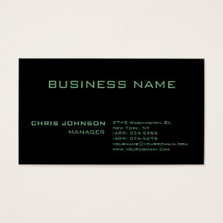 Trendy Modern Green Rich Black Business Card