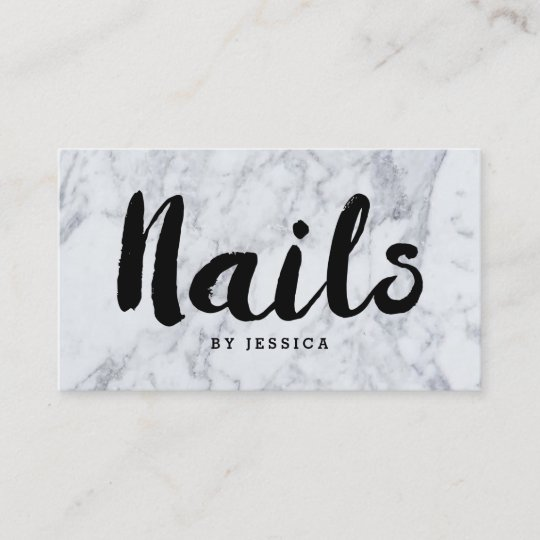 Trendy Modern Marble Nail Technician Business Card