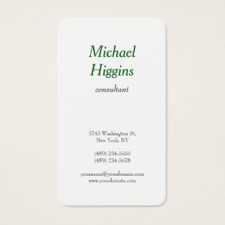 Trendy Modern Minimalist Professional Green White Business Card