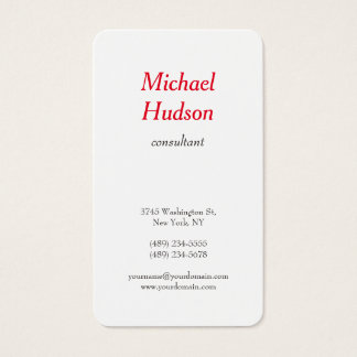 Trendy Modern Minimalist Professional Red White Business Card