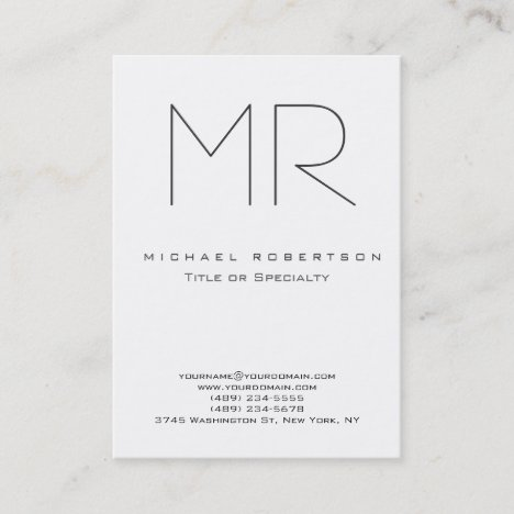 Trendy Modern Monogram Plain Minimalist Business Card