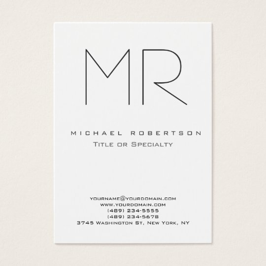 Trendy modern monogram plain minimalist business card zazzle trendy modern monogram plain minimalist business card reheart Image collections