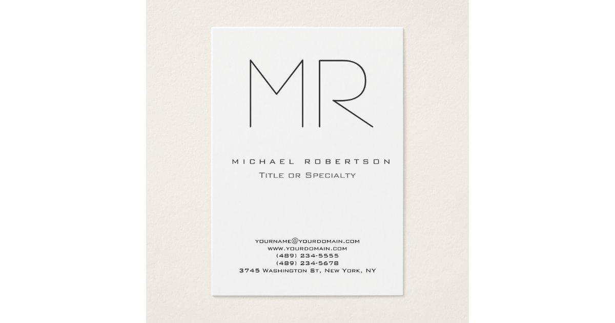 Trendy Modern Monogram Plain Minimalist Business Card | Zazzle.com