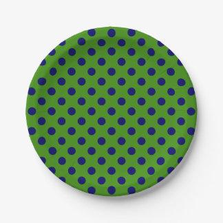 blue and green polka dots plates zazzle. Black Bedroom Furniture Sets. Home Design Ideas