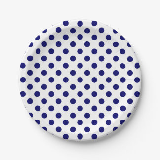 Trendy Modern Navy Blue Polka Dots on White Paper Plate