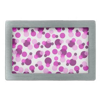 Trendy Modern Pink and Purple Polka Dot Pattern Rectangular Belt Buckle