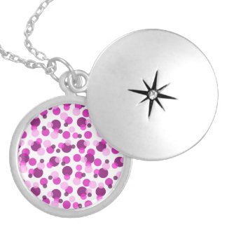 Trendy Modern Pink and Purple Polka Dot Pattern Silver Plated Necklace