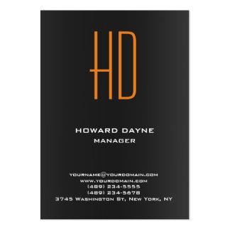 Trendy modern plain black gray orange monogram large business card