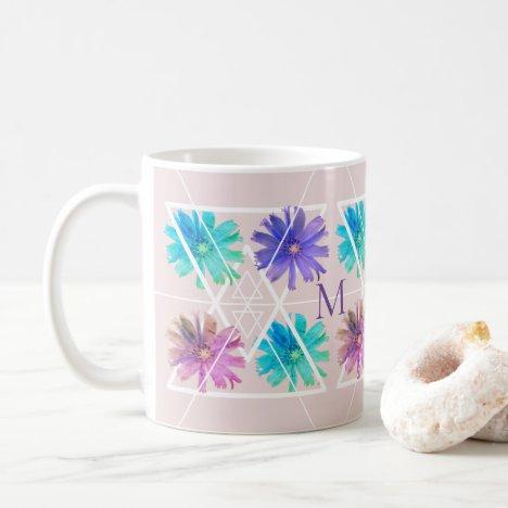 Trendy modern pretty boho floral geometry monogram coffee mug