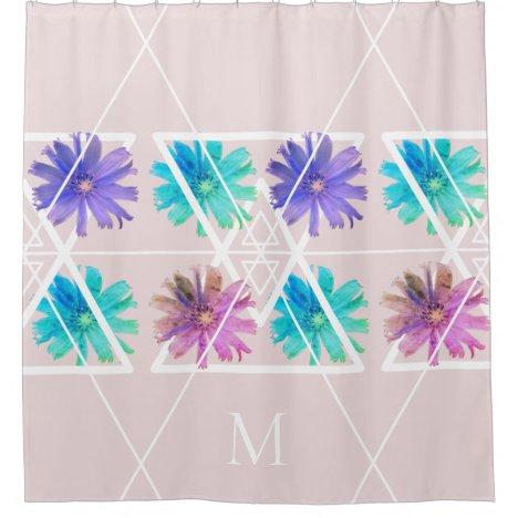 Trendy modern pretty boho floral geometry monogram shower curtain