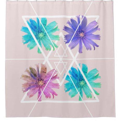 Trendy modern pretty boho floral geometry shower curtain