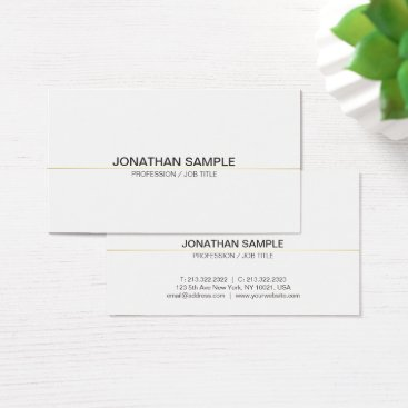 Lawyer Themed Trendy Modern Professional Clean Chic Plain White Business Card