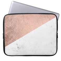 Trendy Modern Rose Gold White Marble Color Block Laptop Sleeve at Zazzle