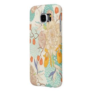 Trendy Modern Rose Peony Flower Pattern Samsung Galaxy S6 Cases