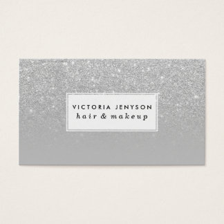 Trendy modern silver ombre grey color block business card