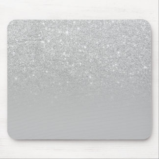 Trendy modern silver ombre grey color block mouse pad