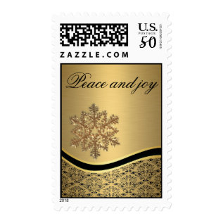 Trendy Modern Snowflake Holiday Peace And Joy Gold Postage at Zazzle