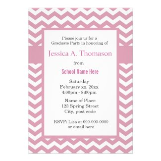 Trendy, modern soft pink chevron graduation invites