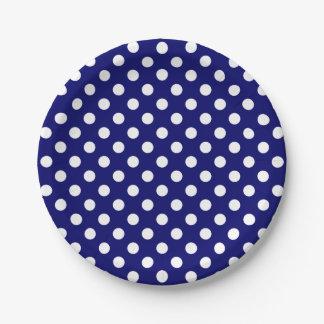 Trendy Modern White Polka Dots on Dark Navy Blue 7 Inch Paper Plate