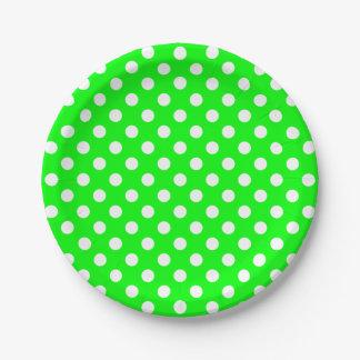 Trendy Modern White Polka Dots on Lime Green Paper Plate