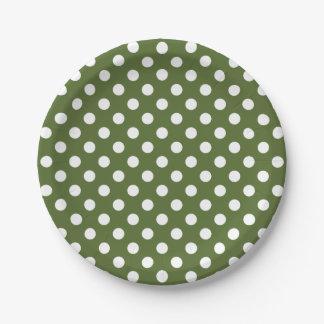 Trendy Modern White Polka Dots on olive Green Paper Plate