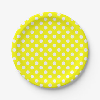 Trendy Modern White Polka Dots on Yellow 7 Inch Paper Plate