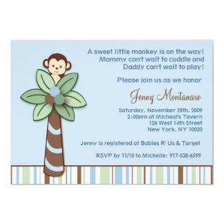 Trendy Monkey Jungle Baby Shower Invitations