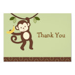 Trendy Monkey Jungle Flat Thank You Note Cards Invites