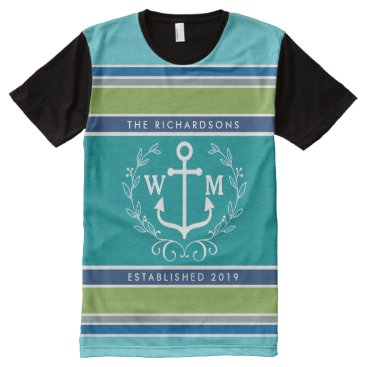 Trendy Monogram Anchor Laurel Wreath Stripes Aqua All-Over-Print Shirt