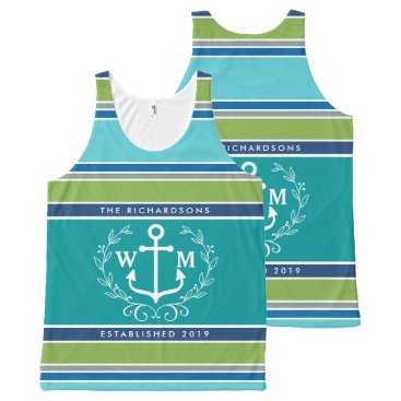 Beach Themed Trendy Monogram Anchor Laurel Wreath Stripes Aqua All-Over-Print Tank Top