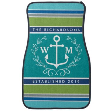 Beach Themed Trendy Monogram Anchor Laurel Wreath Stripes Aqua Car Mat