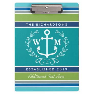 Beach Themed Trendy Monogram Anchor Laurel Wreath Stripes Aqua Clipboard